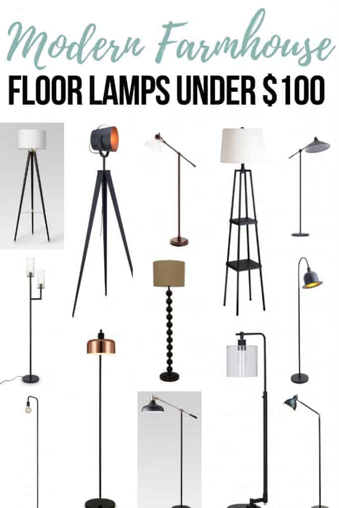 Tripod floor lamp, three-legged floor lamp adjustable floor lamp, glass head with black finish floor lamp, stacked ball base with faux silk shade floor lamp, Charlie Chaplin hat inspired floor lamp, industrial looking floor lamp, bronze shade floor lamp with text overlay that says 14 Modern Farmhouse Floor Lamps under $100
