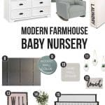 Mood board showing decor and furniture for modern farmhouse baby nursery