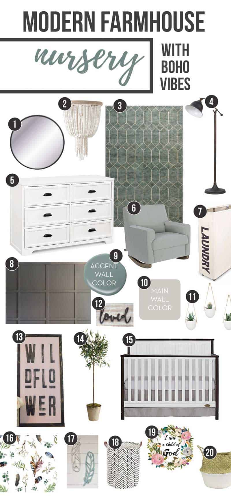 Photo collage showing design options for modern farmhouse baby nursery with boho vibes