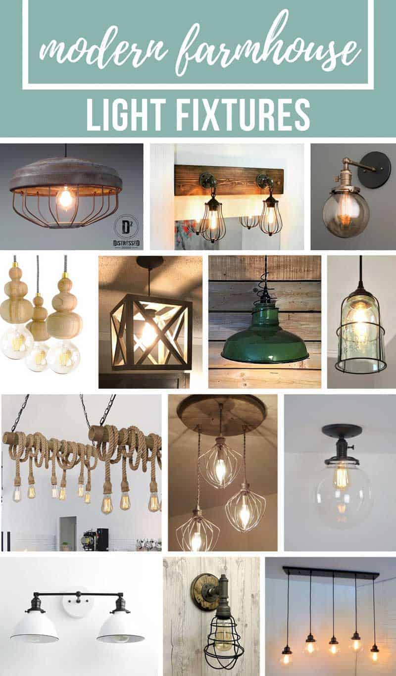 Collage with a variety of modern farmhouse light fixtures with text overlay