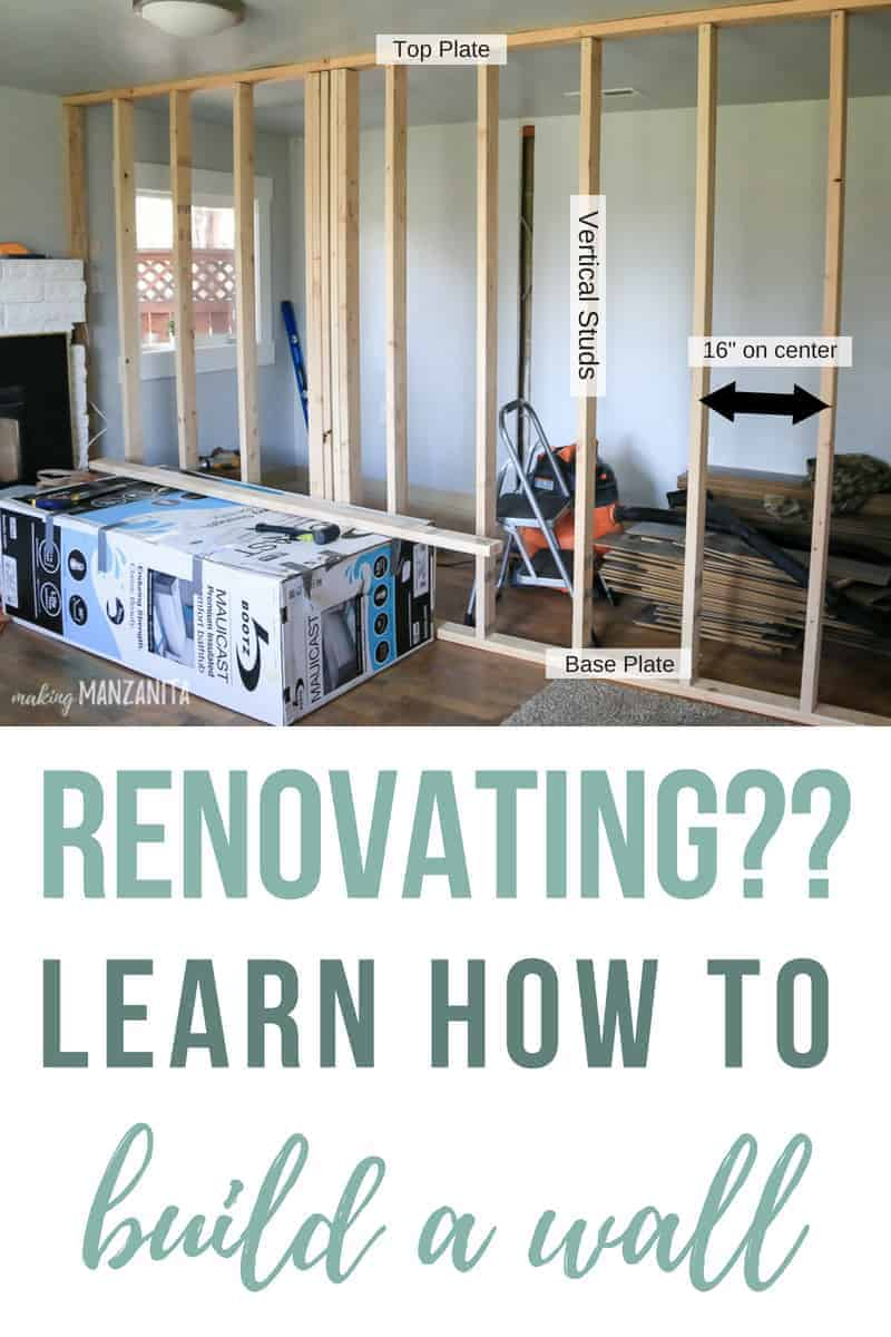 Photo of interior wall framing with definitions labeled and text overlay that says renovating?? Learn how to build a wall