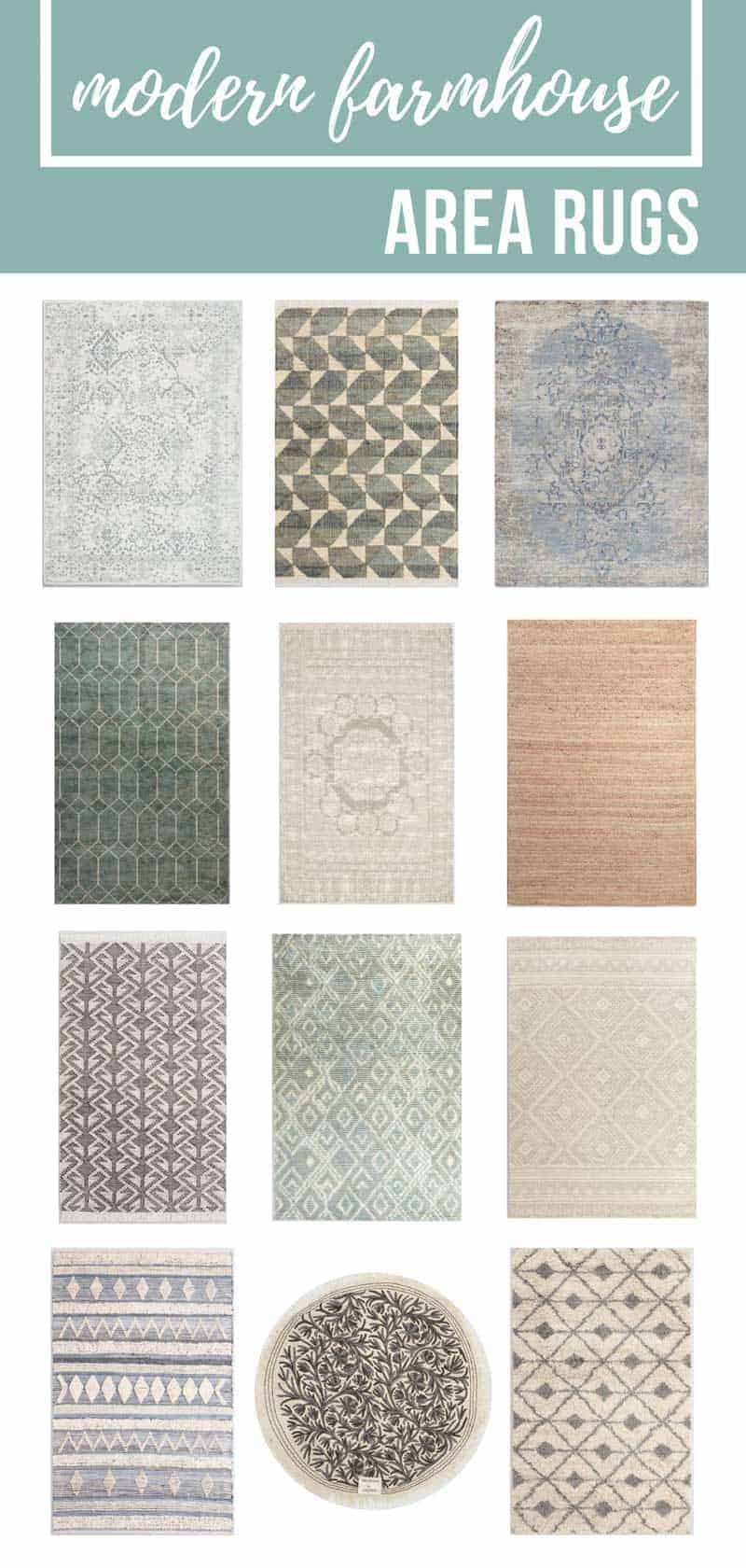 Collage of various rugs with text overlay that says modern farmhouse rugs