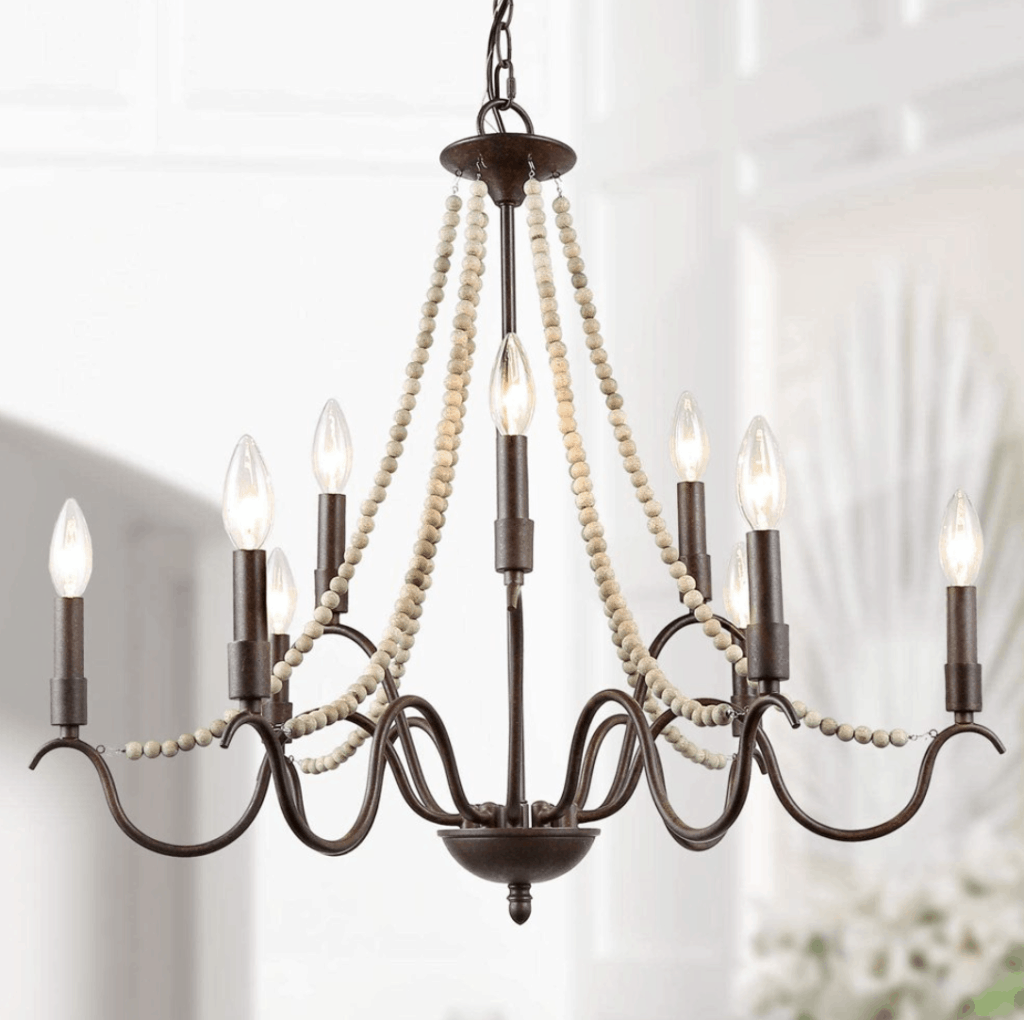 French Country Farmhouse Chandelier with Wood Beads
