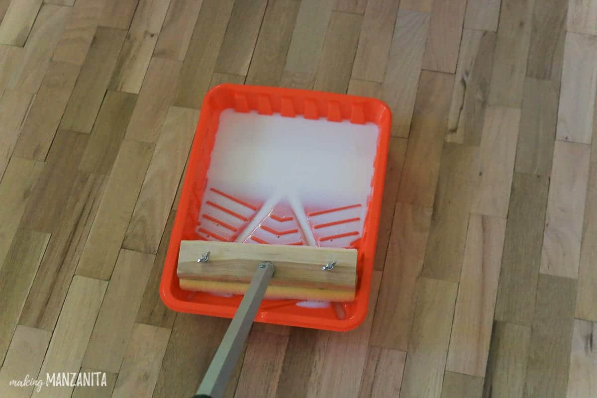 Hardwood floor finish in paint tray