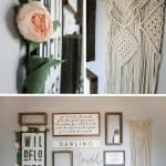 Collage of wall decor in baby girl nursery