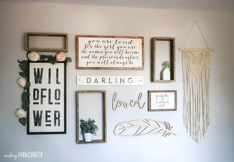 Baby nursery room ideas gallery wall with boho farmhouse style
