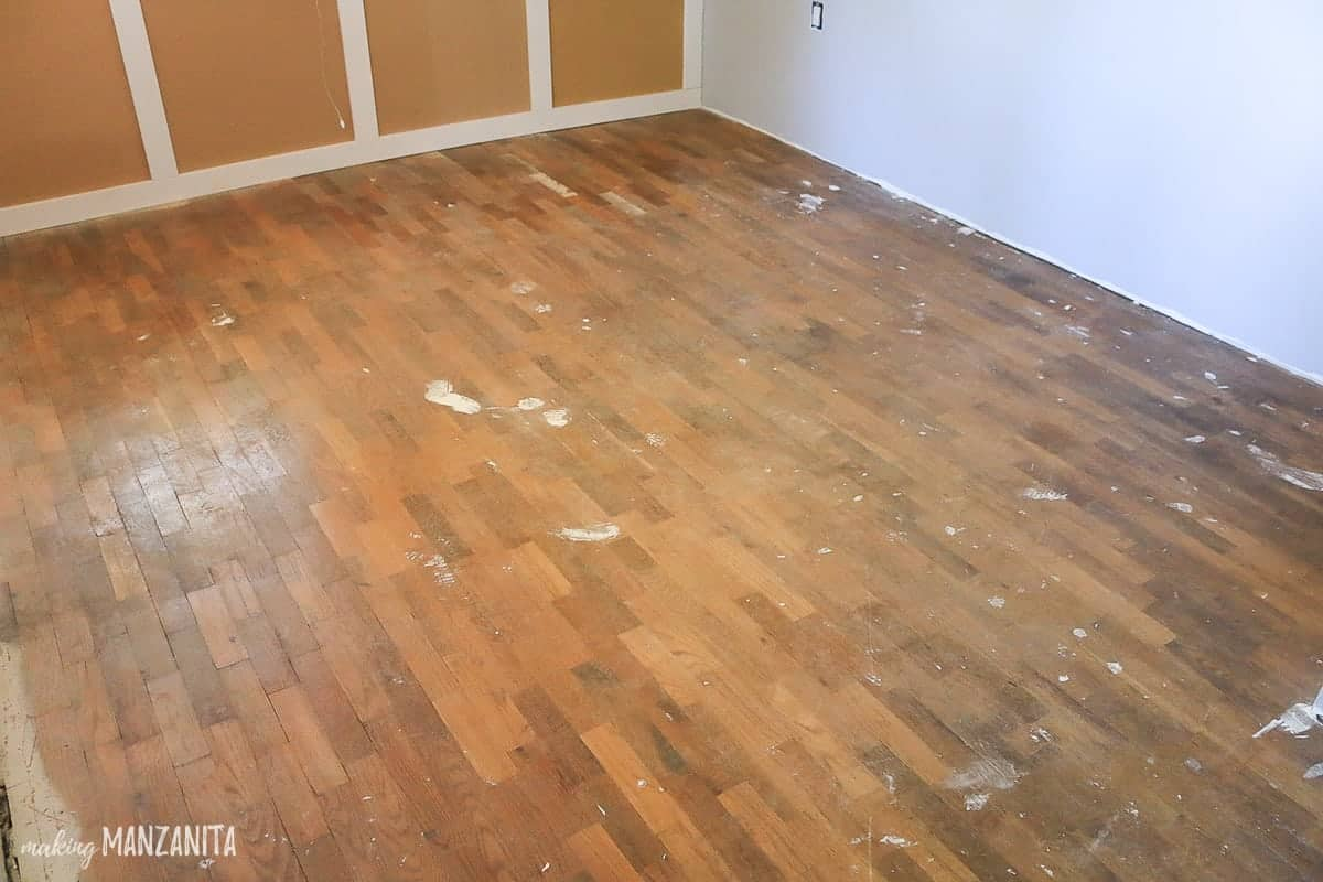 PIcture of old original hardwood floors that need to be refinished
