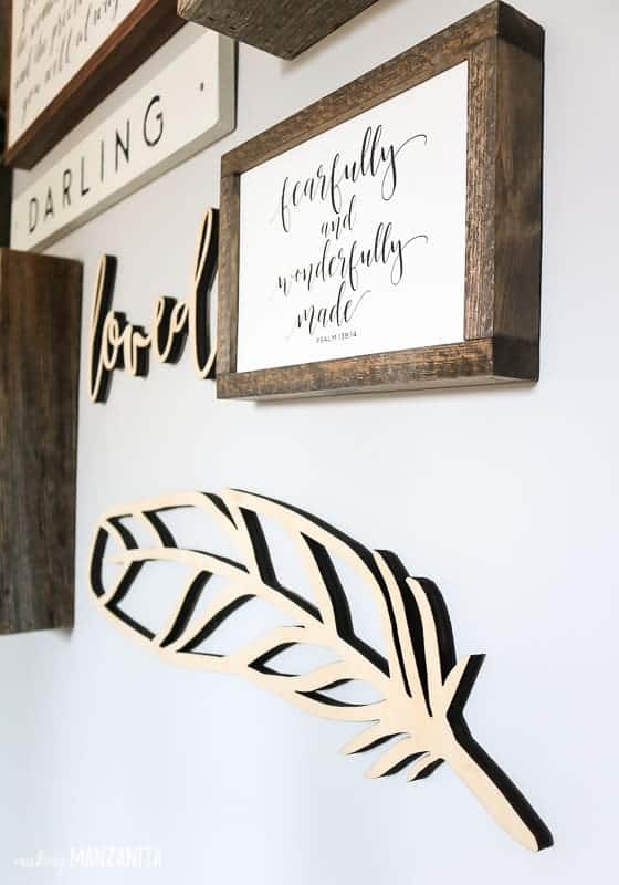 Feather wood wall cut out and farmhouse sign