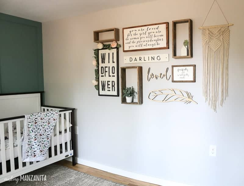 Boho gallery wall in nursery on gray painted wall with Chic Gray from Behr