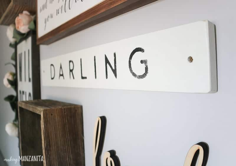 Rustic darling sign in nursery