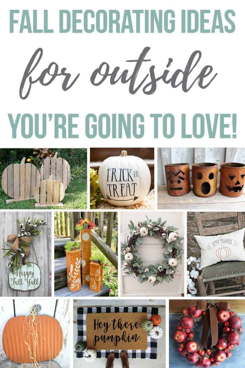 Collage of fall outdoor decor with text overlay that says fall decorating ideas for outside you're going to love