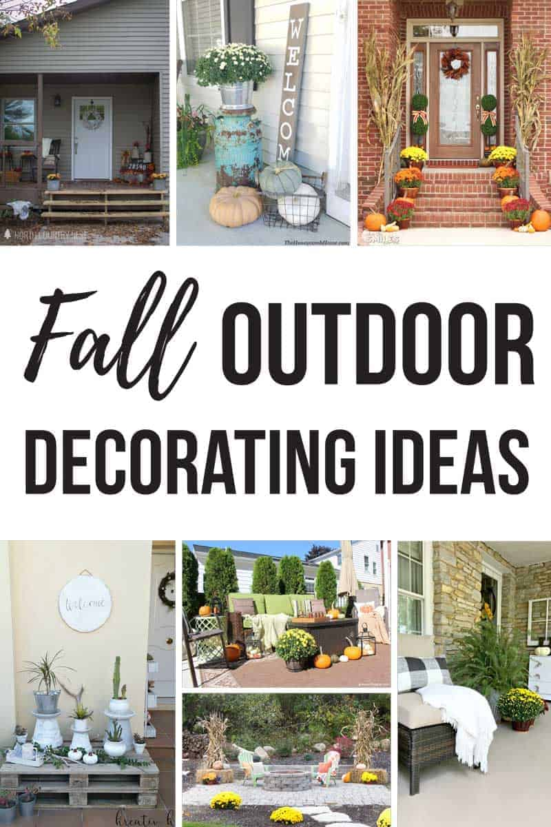 Photo collage of front porches and patios with text overlay that says fall outdoor decorating ideas