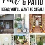 Collage of front porches decorated for fall with text overlay that says fall porch and patio ideas you'll want to steal!