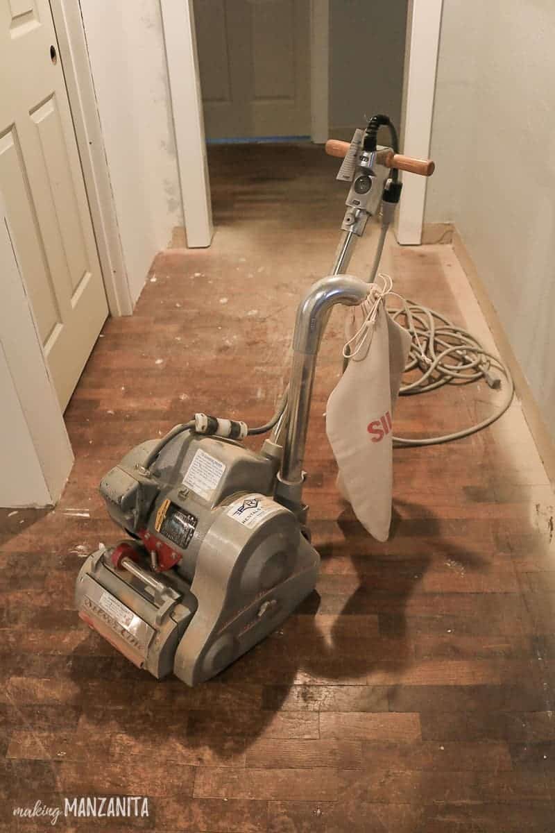 Drum sander for hardwood floor refinishing