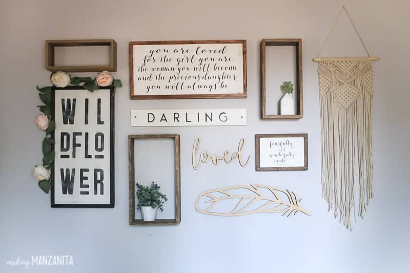 Boho Farmhouse Gallery Wall Layout for Baby Girls Nursery
