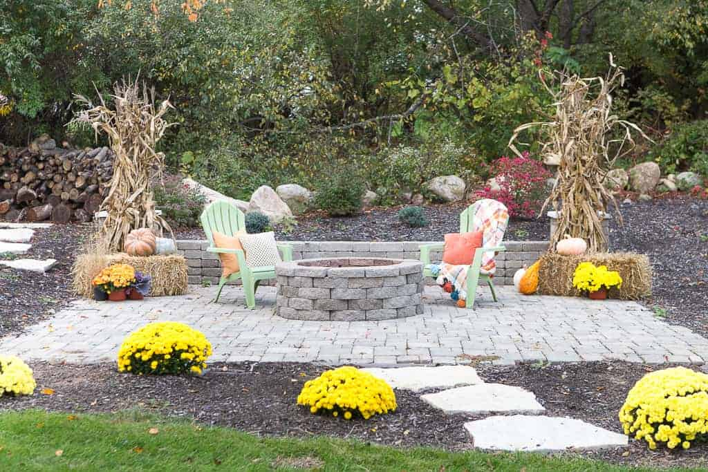 Cozy fall patio with fire pit, Just A Girl Blog