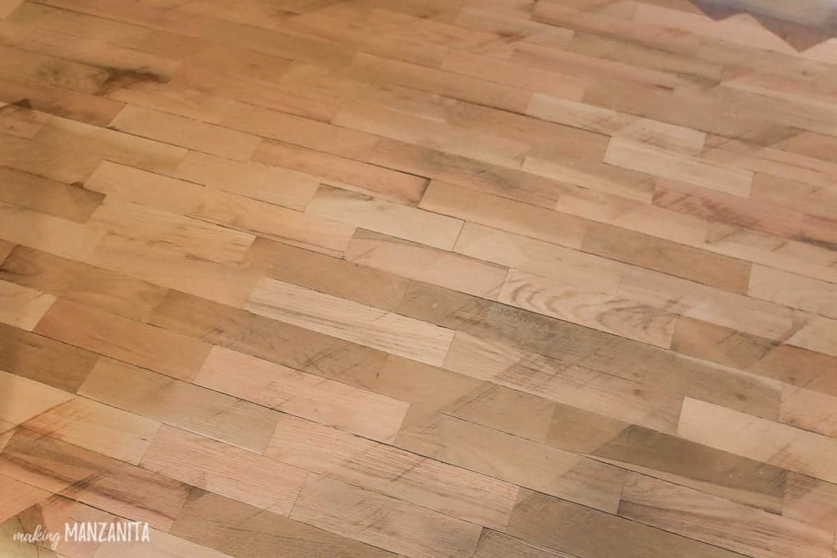 Wood floors that have been sanded diagonally