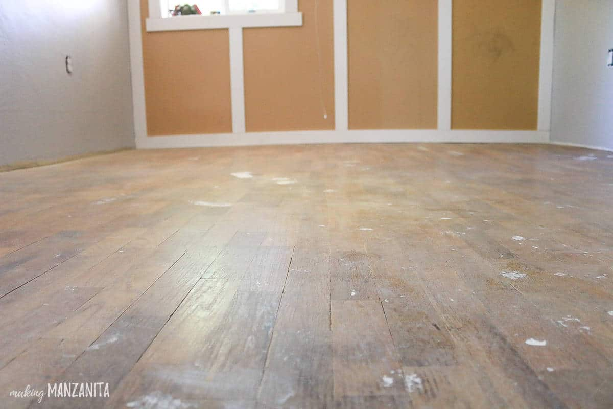 Photo of hardwood floors that need to be refinished