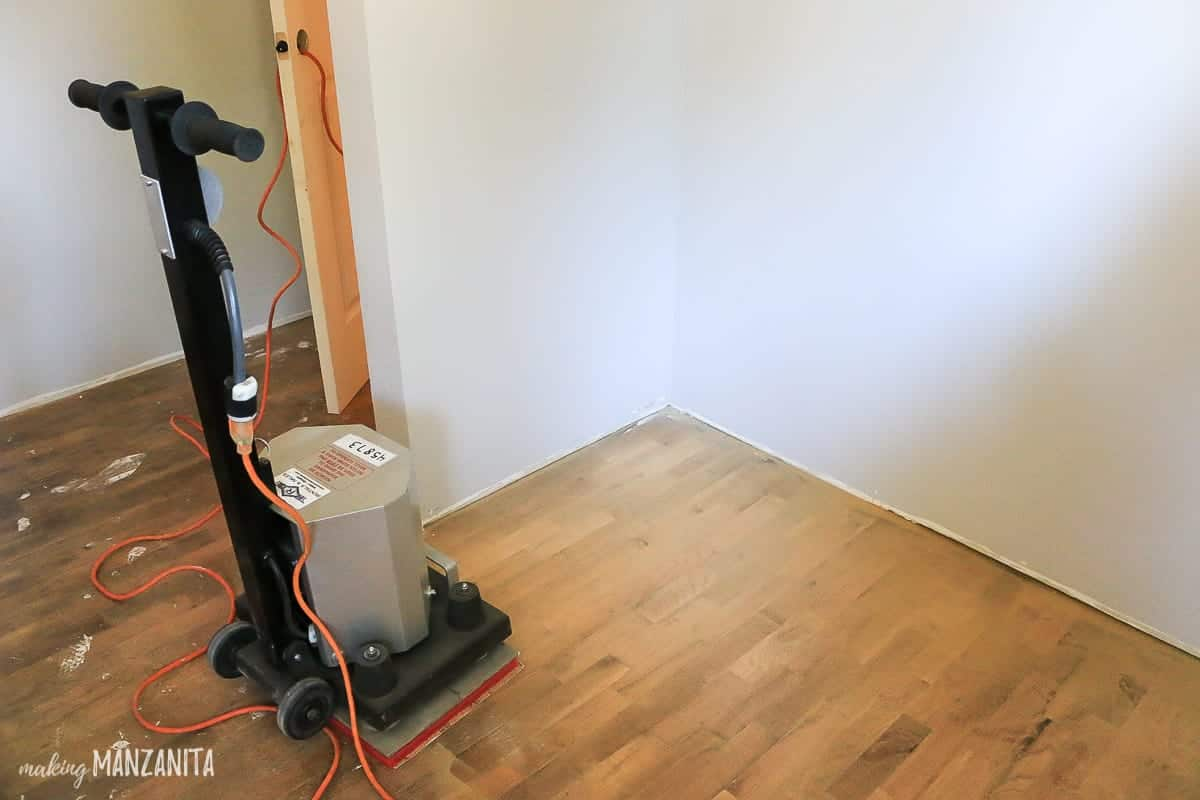 Square buff sander on hardwood floors
