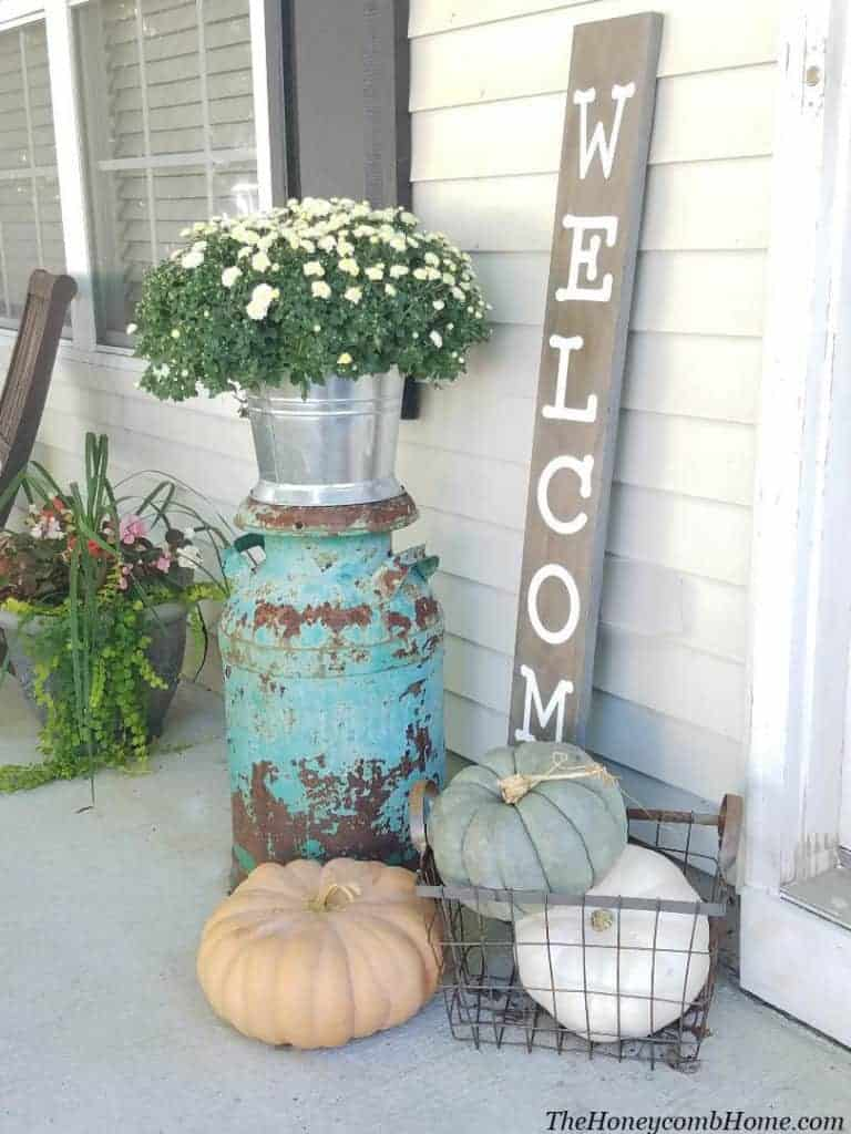 Rustic Fall Decor with Vintage Milk Can, The Honeycomb Home