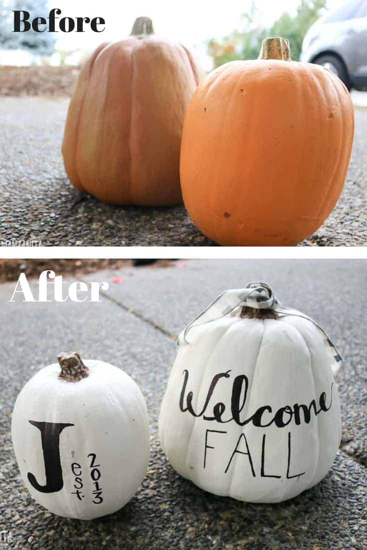 Before and after picture of orange pumpkins before and white farmhouse style pumpkins afterward with writing on them