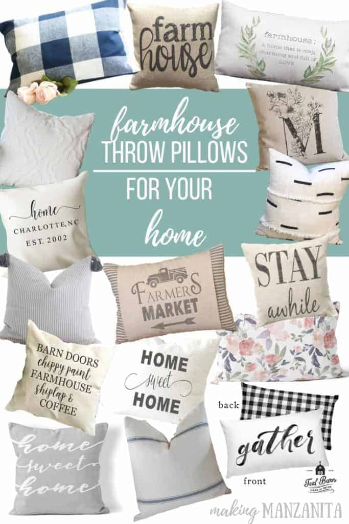 Collage of cute pillows with text overlay that says Farmhouse Throw Pillows For Your Home