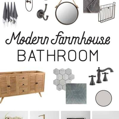 Modern Farmhouse Bathroom Mood Board (+ Week 2 Update)
