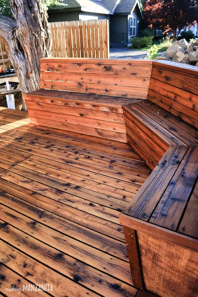 Wood deck with bench with fresh oil finish