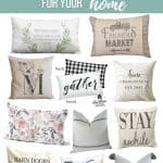 Collage of pillows with text overlay that says farmhouse throw pillows for your home