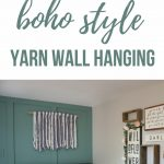 Yarn wall hanging above a crib in a boho nursery with text overlay that says how to make this boho style yarn wall hangin