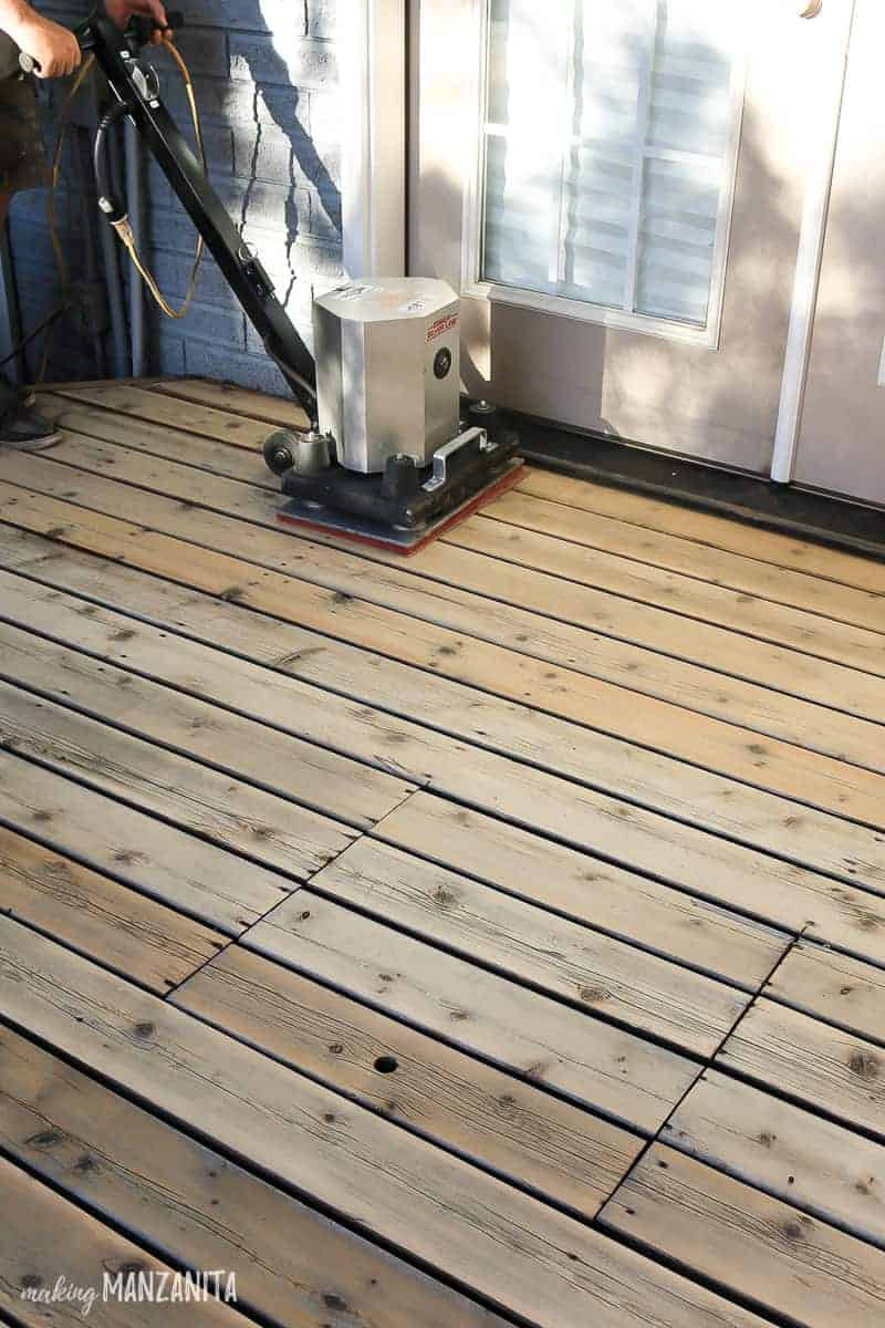 Square sander on wood decking