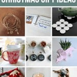 Collage of Mason jar Gift set, map coasters, Christmas decors, printed teatowels, white wreath, diy card, diy scrub, hairbow holder and bath essentials with text overlay that says 45 DIY Gift Ideas For Less Than $10