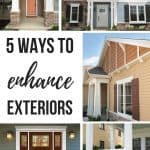 Photo collage showing craftsman style homes with decorative millwork with text overlay that says 5 ways to enhance exteriors