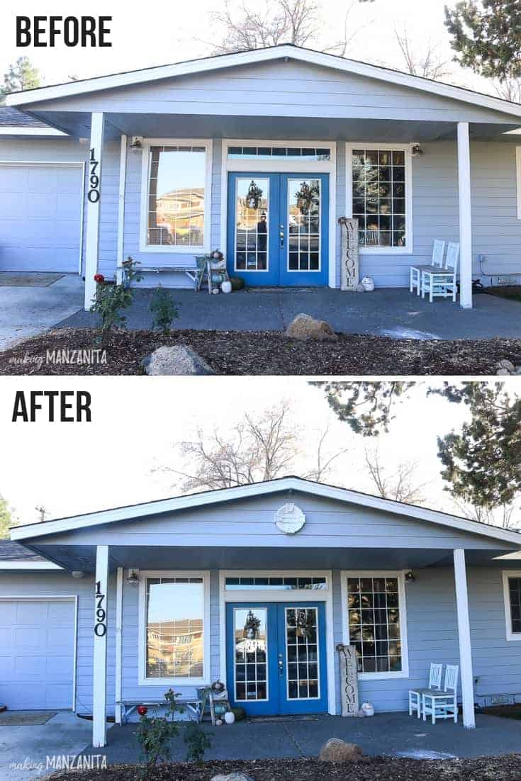 Before and after pictures showing a white round gable decoration added to the front of the home