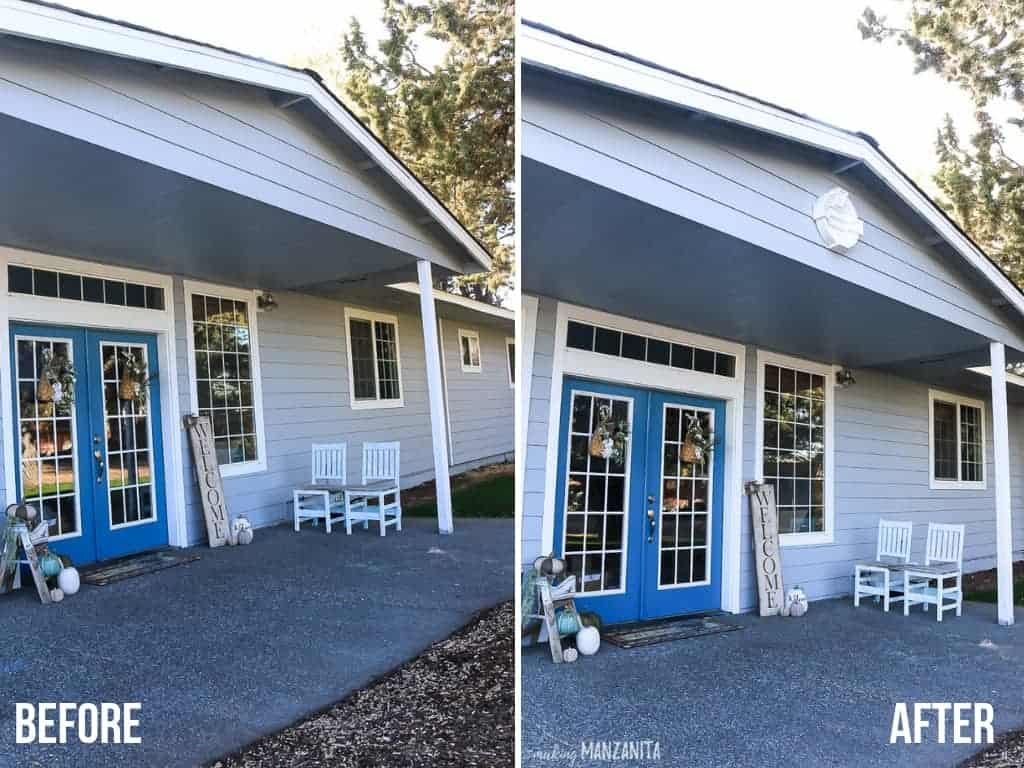 Before and after images side by side showing a new white round decorative louver added to the gable above the front porch