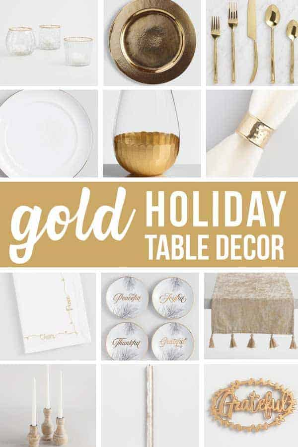 Collage of table decorations with text overlay that says gold holiday table decor