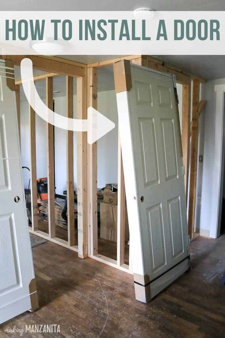 Prehung wall leaning against a wall ready to be installed with text overlay that says how to install a door with an arrow pointing towards the door