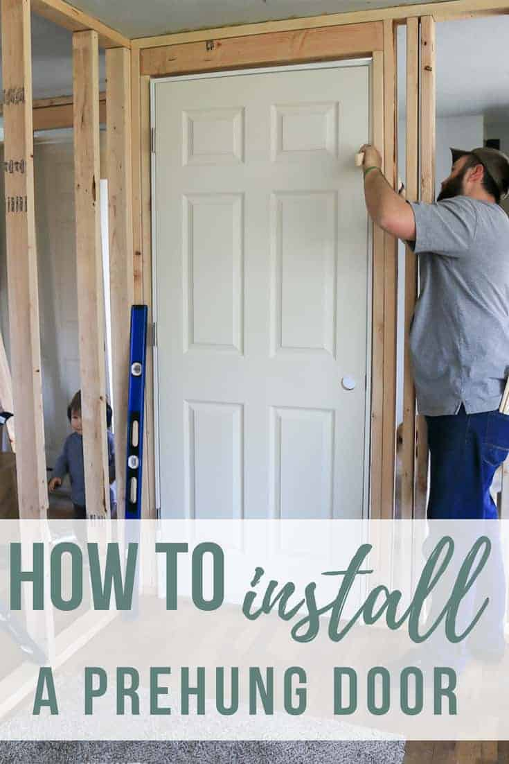 Man adding shims in between door frame and stud with text overlay that says how to install a prehung door