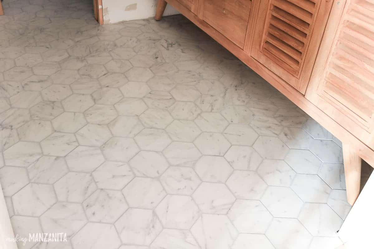 Marble hexagon tile flooring in bathroom
