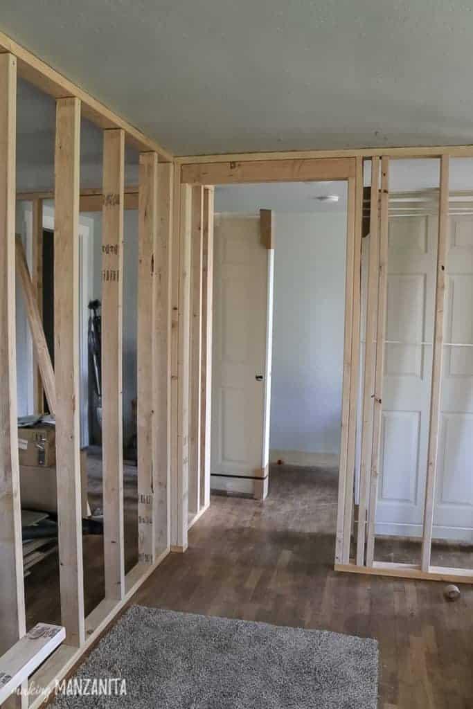 Door rough opening ready to have a prehung door installed