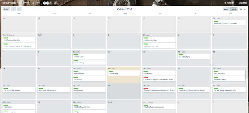 Online project management calendar on Trello