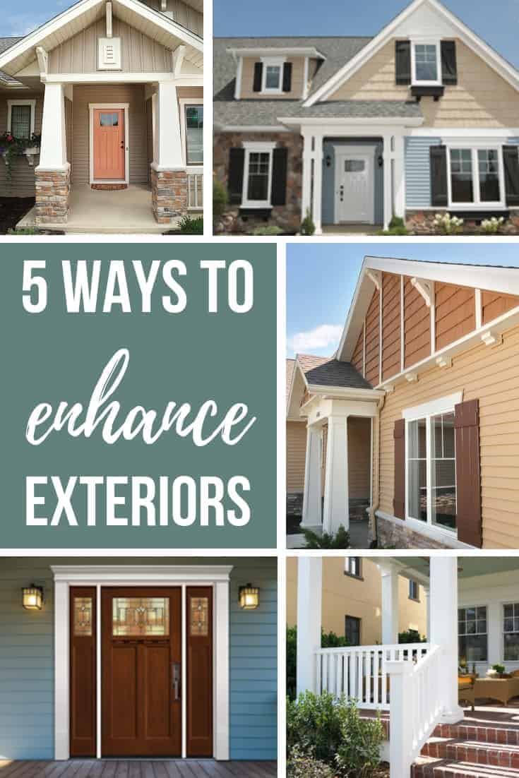 Photo collage showing front of homes with millwork added with text overlay that says 5 ways to enhance exteriors