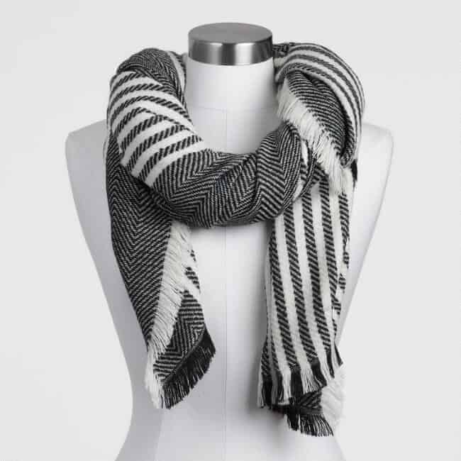 Black And White Oversized Scarf
