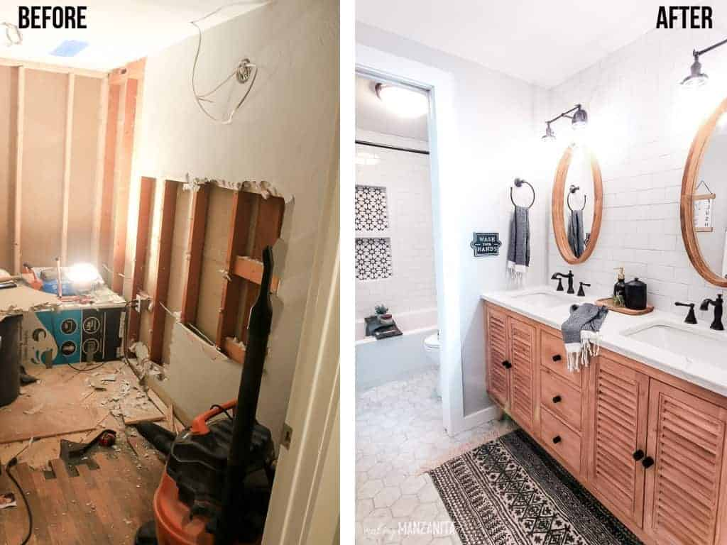 Before and after pictures of our farmhouse style bathroom renovation. On the left, a torn up and gutted bathroom. On the right, a bright boho farmhouse bathroom with white subway tiles and chic farmhouse accessories