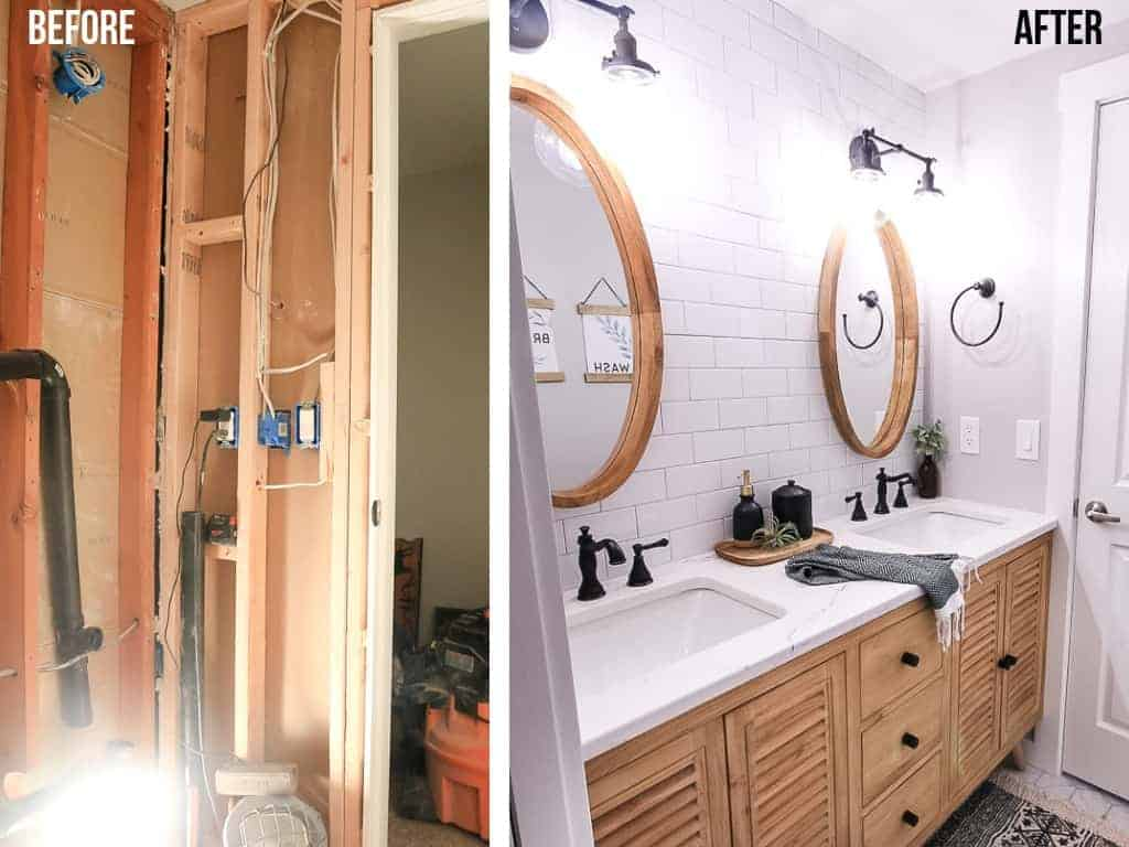Before and after images of a bathroom renovation. On the left, a gutted bathroom under construction. On the right, a finished bathroom vanity with wood cabinets, oval mirrors hanging over bright white subway tile