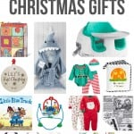 Collage of ABC block, shark bathrobe, bumboo seat, baby ornament, elf outdit, felt book, Baby book, Jumperoo, Christmas onesies, crumpled papers, bibs, playmat with text overlay that says Best Baby Christmas Gifts