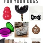 Collage of kong dog toy, dog bow tie, collapsible bowl, personalized dog bowl, cute sofa dog bed, pet ornament, tire chew toy, bully sticks with text overlay that says Christmas Gifts For Your Dog