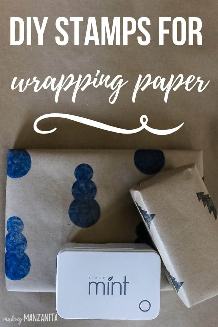 Gifts wrapped with stamped wrapping paper and Silhouette Mint machine sitting on top of them with text overlay that says DIY stamps for wrapping paper