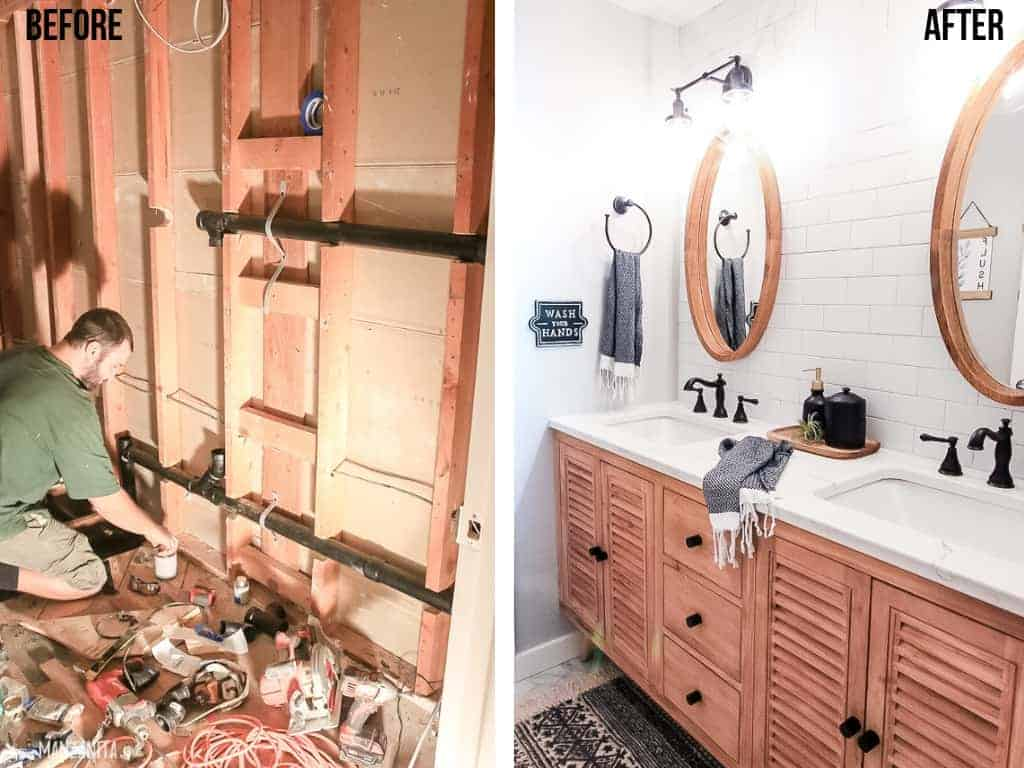 Before and after images of a renovated farmhouse style bathroom makeover. On the left, a gutted bathroom construction scene. On the right, a farmhouse bathroom vanity with white subway tile, oval wood mirrors and a wood vanity