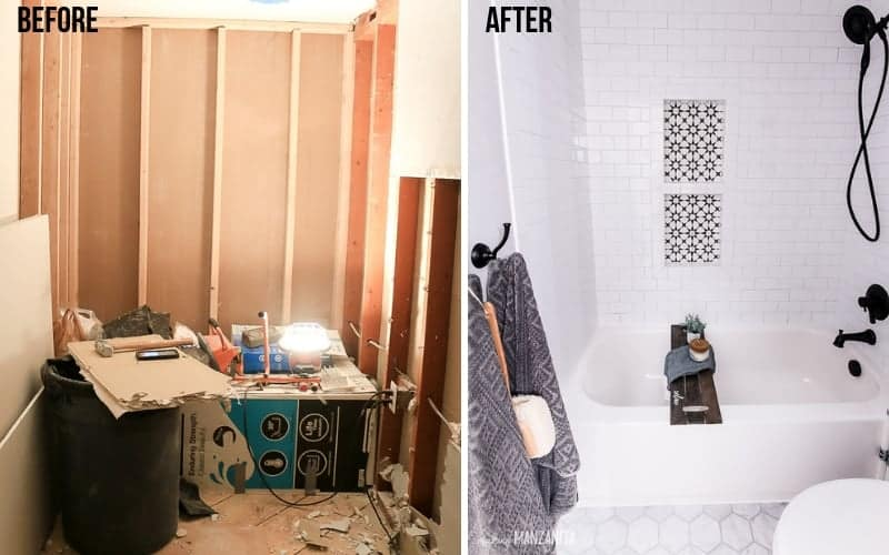Before and after image of a renovated bath tub. On the left, a gutted bath tub recess. On the right, a renovated bath tub tiled with white subway tile and accessorized with a DIY wooden bath tray